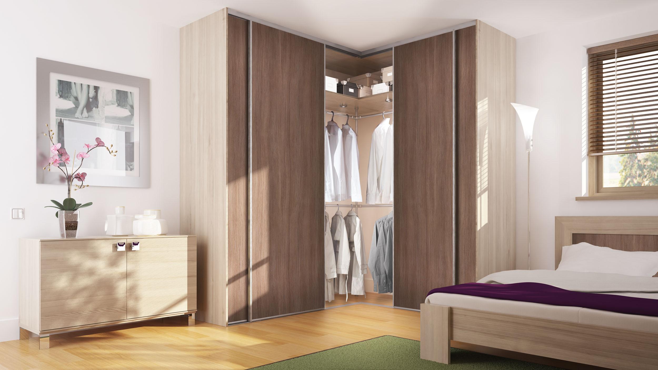 Дизайн угловых шкафа купе для спальни