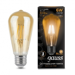 Лампа Gauss LED Filament ST64 E27 6W Golden 550lm 2400К 1/10/40
