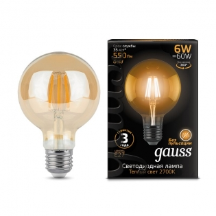 Лампа Gauss LED Filament G95 E27 6W Golden 550lm 2400K 1/20